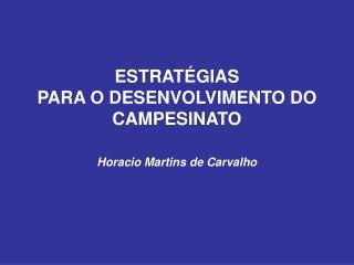 ESTRAT�GIAS PARA O DESENVOLVIMENTO DO CAMPESINATO Horacio Martins de Carvalho