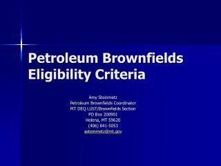Petroleum Brownfields Eligibility Criteria