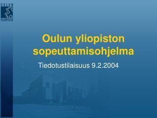 Oulun yliopiston sopeuttamisohjelma