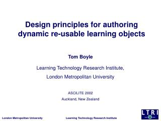 Design principles for authoring dynamic re-usable learning objects