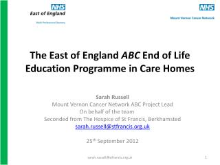 The East of England  ABC  End of Life Education Programme in Care Homes