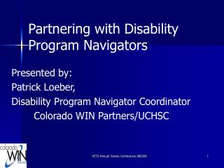 Partnering with Disability Program Navigators