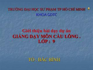 TRƯỜNG ĐẠI HỌC SƯ PHẠM TP HỒ CHÍ MINH KHOA GDTC