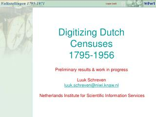 Digitizing Dutch Censuses 1795-1956