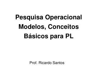 Pesquisa Operacional Modelos, Conceitos B�sicos para PL