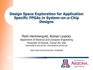 Design Space Exploration for Application Specific FPGAs in System-on-a-Chip Designs