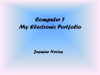 Computer 7 My Electronic Portfolio