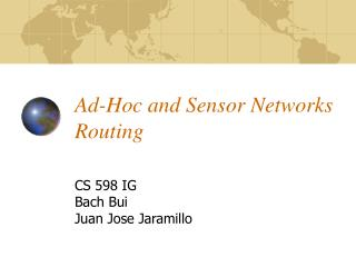 Ad-Hoc and Sensor Networks Routing
