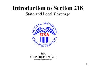 Introduction to Section 218 State and Local Coverage