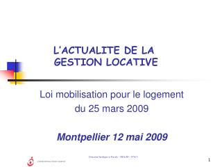 L ACTUALITE DE LA  GESTION LOCATIVE