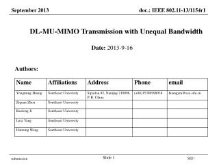 DL-MU-MIMO Transmission with Unequal Bandwidth