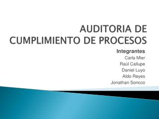 AUDITORIA DE CUMPLIMIENTO DE PROCESOS