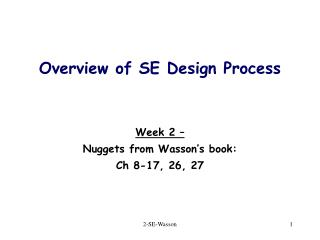 Overview of SE Design Process