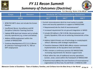FY 11 Recon Summit Summary of Outcomes (Doctrine)