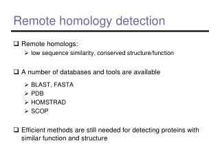 Remote homology detection