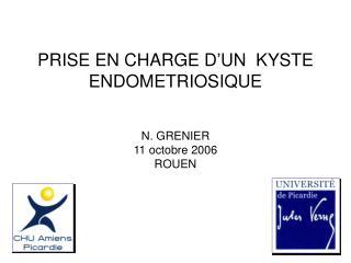 PRISE EN CHARGE D UN  KYSTE ENDOMETRIOSIQUE   N. GRENIER 11 octobre 2006 ROUEN
