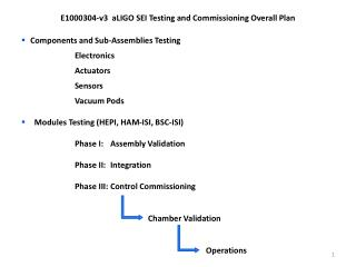 E1000304-v3   aLIGO SEI Testing and Commissioning Overall Plan