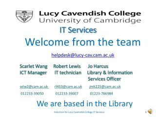 Induction for Lucy Cavendish College IT Services