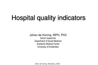 Hospital quality indicators