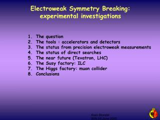 Electroweak Symmetry Breaking:  experimental investigations