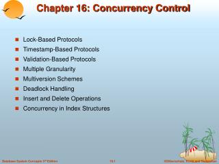 Chapter 16: Concurrency Control