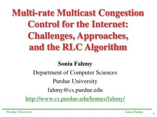 Sonia Fahmy Department of Computer Sciences Purdue University fahmy@cs.purdue