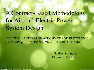 A Contract-Based Methodology for Aircraft Electric Power System Design