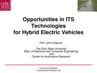 Opportunities in ITS Technologies  for Hybrid Electric Vehicles