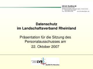 Datenschutz  im Landschaftsverband Rheinland