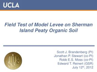 Field Test of Model Levee on Sherman Island Peaty Organic Soil