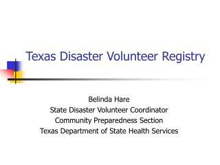 Texas Disaster Volunteer Registry