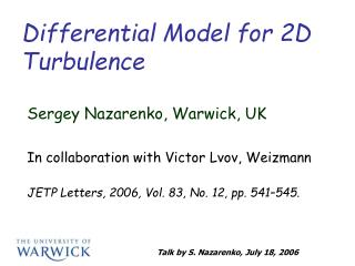 Differential Model for 2D Turbulence