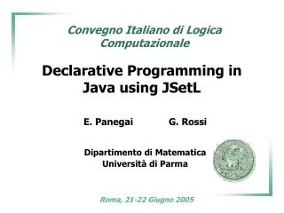Declarative Programming in Java using JSetL