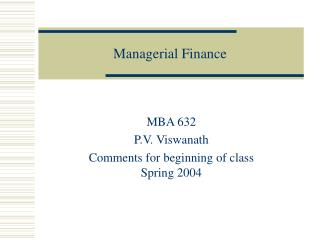 Managerial Finance