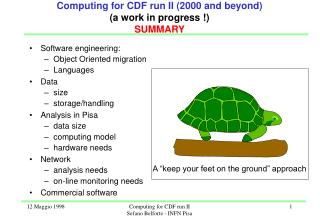Computing for CDF run II (2000 and beyond) (a work in progress !) SUMMARY