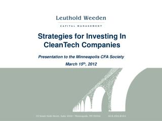 Strategies for Investing In  CleanTech Companies