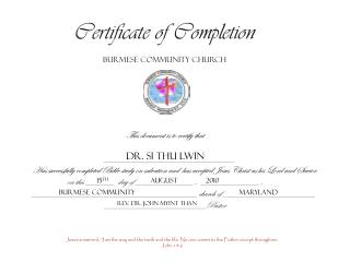 Certificate of Completion Burmese Community Church This document is to certify that