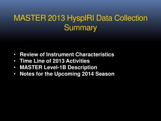 MASTER 2013 HyspIRI Data Collection Summary