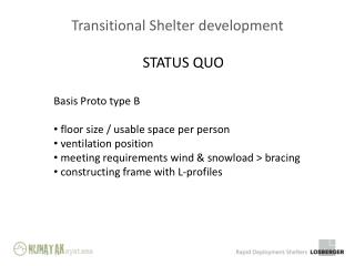 Transitional Shelter development