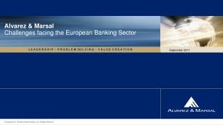 Alvarez & Marsal Challenges facing the European Banking Sector