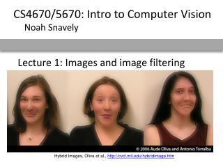 Lecture 1: Images and image filtering