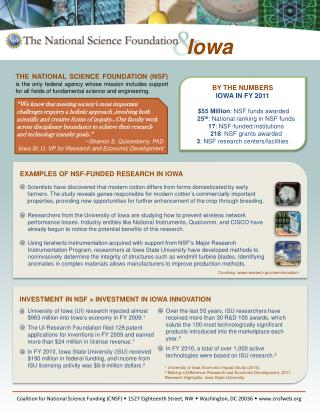 BY THE NUMBERS IOWA IN FY 2011
