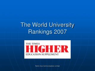 The World University Rankings 2007