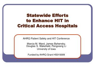 Statewide Efforts to Enhance HIT in Critical Access Hospitals