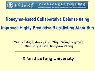 Honeynet-based Collaborative Defense using Improved Highly Predictive Blacklisting Algorithm