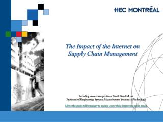 The Impact of the Internet on Supply Chain Management