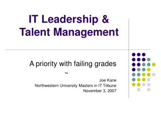 IT Leadership  Talent Management