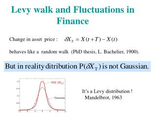 Levy walk and Fluctuations in Finance
