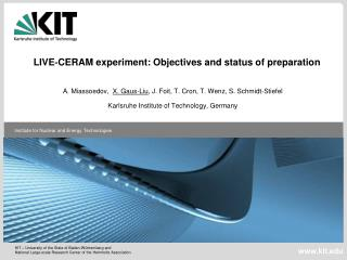 LIVE?CERAM experiment: Objectives and status of preparation