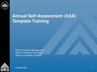 Annual Self-Assessment ASA Template Training